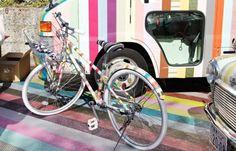 que faire avec du masking tape, customiser don vélo avec du papier washi, idee deco charmante