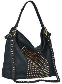 Affordable and roomy, MG Collection Hana Studded Slouchy Hobo Shoulder Bag
