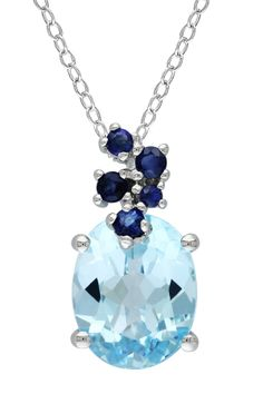 Sterling Silver Blue Topaz & Created Sapphire Cluster Pendant Necklace