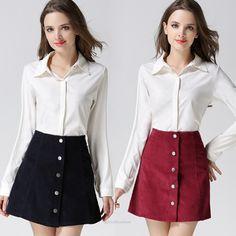 Corduroy High Waisted Button A Line Skirt - Skirts - Look Love Lust