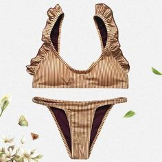 Product Description: Buy Spring Summer 2018 Swimwear Trends Women's Ruffled Vertical Striped Padded Tied Up Bandage Bikini Set on Sale by PesciModa Details: Swimsuit Type: Bikini Set, Gender: Women, Waist: Low Waist, Support Type: Wire Free, With Pad: Yes, Pattern Type: Striped, Material: Polyester, Feature: Ruffled Vertical Stripe Padded Tied, Size: S M L, Bra Style: Padded, Elasticity: Micro-elastic