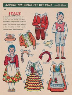 Vintage Italy Paper Dolls