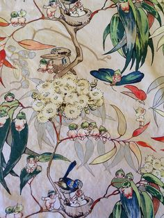 One of my all time favorite Gumnut Babies Bedding Set - Very Rare Original May Gibbs Fabric Art And Illustration, Baby Bedding Sets, Baby Tattoos, Textiles, Faeries, Collage Art, Flower Art, Illustrators, Art For Kids