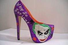 Fanpage dedicated to the Australian Oscar-winning actor, director, and artist Heath Andrew Ledger. Denver Broncos Shoes, Halloween Heels, Female Joker, Batman Costumes, Muses Shoes, Bride Of Chucky, Joker Face, Rhinestone Heels, Cute Heels