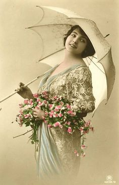 Lady with Parasol and Flowers | Flickr - Photo Sharing!