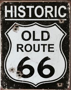Route 66 sign, Old route Vintage tin signs, Advertising signs, Metal signs, Vintage metal signs - Tin Signs for Garage Bundle - Old Route 66, Route 66 Sign, Historic Route 66, Pin Up Vintage, Vintage Metal Signs, Retro Vintage, Image Moto, Wall Art Crafts, Garage Signs
