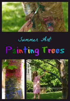 Summer Art Projects for Kids ~~ Painting Trees from Creekside Learning #kidsart #summeractivities #kidsactivites