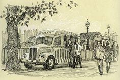 South Bank, Thames, London, Ice cream van, pen drawing Rob Adams, Ice Cream Van, Sketches, Illustrations, London, Drawings, Blog, Painting, Pens