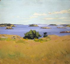 Fairfield Porter. View from Bear Island 1968 oil on panel 14 x 15 inches Private Collection