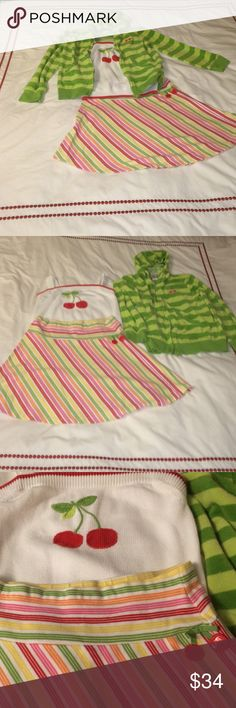 Girls Gymboree Cherries Skirt Tank and Sweatshirt Stripped skirt is Gymboree size 12. Cherry Tank size 12.  Front zip cherry sweatshirt size 12. All items in excellent condition and ready for a new home.  This outfit so so cute.  Everything is washer and dryer safe so very easy to care for. Gymboree Matching Sets
