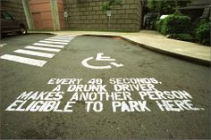 This advertisement registers on a symbolic level for those looking at it. You see the wheelchair and immediately think of handicapped parking space. It immediately connects with each person on a intimate level because you'd never wish any person you know to be in a wheel chair for the rest of their life, a very serious side effect and result of those on the receiving end of drunk driving.