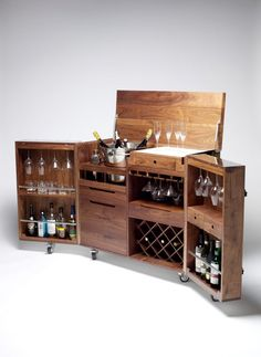 Mobile Bar and Wine Cabinet in Walnut and Stainless Steel by Naihan Li - Home bar - Schnaps Wood Pallet Furniture, Bar Furniture, Furniture Design, Furniture Storage, Wood Pallets, Mobile Bar, Bar Antique, Bar Unit, Portable Bar