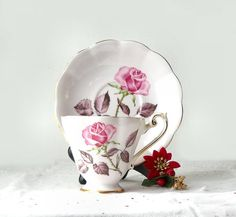 Vintage Pink Rose Tea Cup and Saucer Royal by MomsantiquesNthings, $39.36