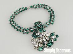 Roger Jean Pierre Emerald Cluster Bib Necklace
