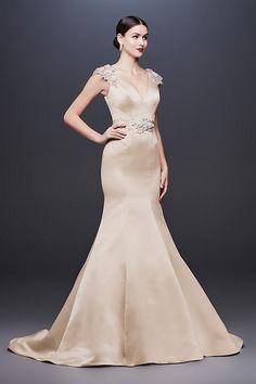 1bbc6bcbdc6 Cap Sleeve Satin Mermaid Wedding Dress with V-Neck by Truly Zac Posen  available at