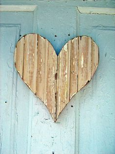Peach Wall Heart Made From Reclaimed Wood.