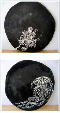 Beautiful ceramic plates inspired by Ernst Haeckel's biological drawings (book named Art Forms in Nature) by Megha Patel. Jellyfish.