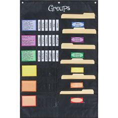 Keep small groups on task with this helpful pocket chart. With pockets large enough to hold folders with group materials, this pocket chart will help your small groups run independently. Easily group and regroup students by simply moving their name sticks.