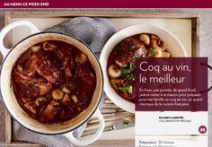 Coq au vin, le meilleur - La Presse+ Mets, Turkey, Cooking Recipes, Nutrition, Chicken, Four, Glass Dishes, Large Plates, Poultry