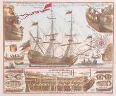 Omschrijving: Langsdoorsnede van een 18e eeuws VOC schip met er omheen diverse navigatie instrumenten, en andere scheepsbenodigdheden.Techniek: KopergravureInkleuring: Latere datumMaker: HuebnerDatering: ca. 1780.Beeldmaat H x B: 33.5 x 41.0 cmPrijscategorie lijst: (B)Conditie: Goed