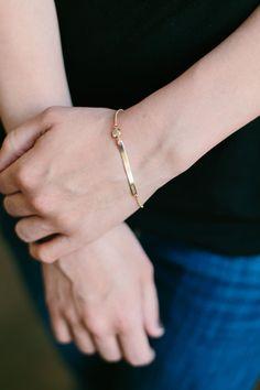 Skinny Bar Bracelet by TrulyKustom on Etsy Initials, Etsy Shop, Jewels, Skinny, Bar, Bracelets, Kustom, Gold, Bijoux