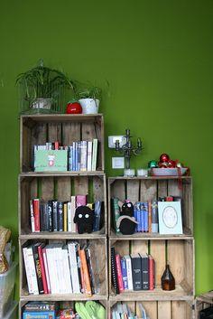Handmade bookshelf---love this for little mans room :)