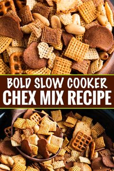Slow Cooker Bold Chex Mix Recipe - The Chunky Chef Slow Cooker Bold Chex Mix Recipe - The Chunky Chef Always a crowd pleaser, this bold and zesty chex mix recipe is made SO simply, right in the crockpot! Great for any party, and easy to customize! Chex Recipes, Snack Mix Recipes, Appetizer Recipes, Chex Mix Recipes Bold, Bold Party Chex Mix Recipe, Snack Mixes, Chex Mix Recipe Savory, Best Party Mix Recipe, Gourmet