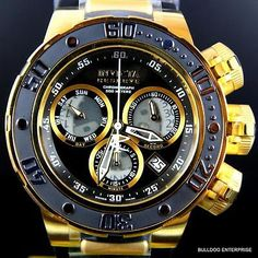 Invicta Reserve Subaqua Sea Dragon Swiss Black Gold Chronograph 52mm Watch New