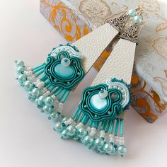 Soutache and leather earrings - S A A D I A