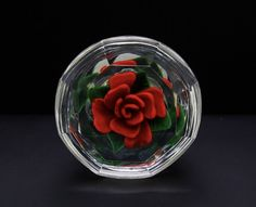 Steven Lundberg Red Rose Art Glass Paperweight,Cup-Shaped(Authentic & Unique) #Lundberg