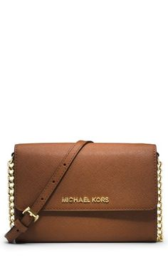 Michael Kors 'Large Jet Set' Saffiano Leather Crossbody Bag at Nordstrom.com. Raised logo letters grace the scratch-resistant Saffiano leather of a chain-strap crossbody designed with a three-compartment interior and handy cell-phone compartment.