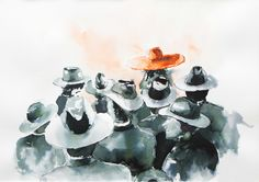 Woman wearing orange hat in a group of men wearing gray hats, painting, watercolors and ink on paper