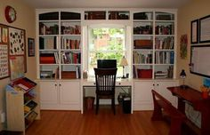 built-in desk/bookshelves. - I Like It Around The Window But Think - Bookshelves And Desk Built In IDI Design Bookshelf Desk, Bookshelves Built In, Built In Desk, Built Ins, Book Shelves, Custom Bookshelves, Desk Nook, Custom Shelving, Bookcases
