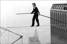 1974 tightrope walk between the towers of the World Trc Center by Philippe Petit