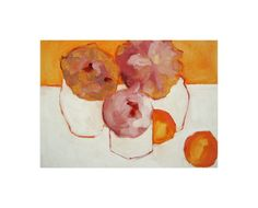 """Peonies and Kumquats"" - Art Print by Lynne Millar in beautiful frame options and a variety of sizes."