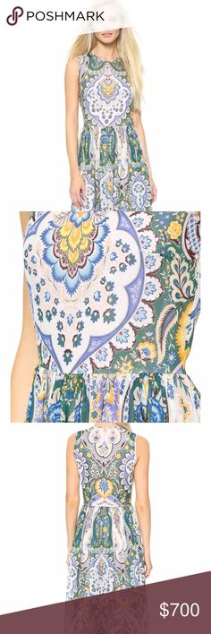 MSGM Long Silk Paisley Dress NWOT. Completely sold out!! An airy MSGM maxi dress in elegant silk crepe, styled with a bold paisley print. Pleats trim the waist and lend texture to the flared skirt. Hidden back zip. Sleeveless. Partially lined. Semi-sheer. back zipper.  Fabric: Silk crepe. Shell: 100% silk. Lining: 100% polyester. Dry clean. Made in Italy. Length: 59.75in / 152cm, from shoulder. listed in italian size: 40 = Small, 4. True to size. GORGEOUS! MSGM Dresses Maxi