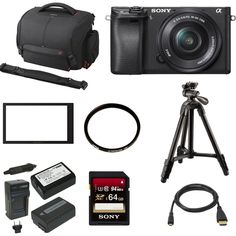 "Sony a6300 Mirrorless Digital Camera w/ 16-50mm f/3.5-5.6 Lens & 64 GB SD Card Bundle. 24.2MP APS-C Exmor CMOS Sensor BIONZ X Image Processor XGA Tru-Finder 2.36m-Dot OLED EVF 3.0"" 921.6k-Dot Tilting LCD Monitor Internal UHD 4K30 & 1080p120 Recording S-Log3 Gamma and Display Assist Function Built-In Wi-Fi with NFC 4D FOCUS with 425 Phase-Detect Points Up to 11 fps Shooting and ISO 51200 Weather-Sealed Magnesium Alloy Body."