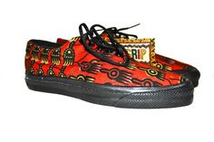 vintage shoes, 1990's Native Prints by Converse, African printed sneaker, dead stock, nwt
