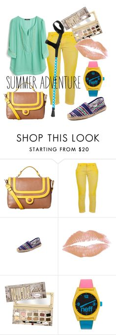 """""""Summer Adventure"""" by spashionista ❤ liked on Polyvore featuring Orla Kiely, Pierre Balmain, Libertine, Soludos, TheBalm, Neff, espadrilles, oversized watches, pastel makeup and leather messenger bags"""