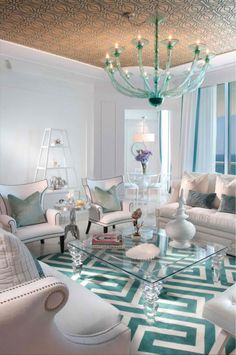 sala de estar esquema de cores turquesa