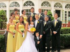 blue & yellow wedding party look | non-pro pic of bridal party :) « Weddingbee Gallery