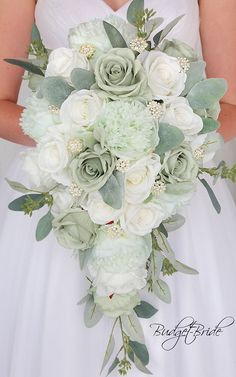 Davids Bridal Mint and Sage Green Cascading Wedding Bouquet with lambs ear and eucalyptus ivory roses and brooches