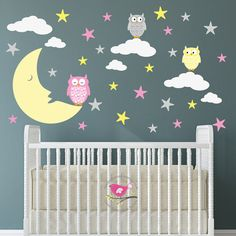 Owl Star and Moon Decal Wall Stickers Nursery baby decor Wall Stickers For Baby Nursery, Girls Wall Stickers, Nursery Decals, Nursery Wall Art, Girl Nursery Themes, Owl Nursery, Nursery Room, Baby Room, Bedroom