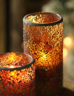 Flameless candles in beautiful mosaic glass. www.batteryoperatedcandles.net/48712-p-christmas.html