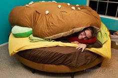 The Hamburger Bed Design is both a child's dream and a Vegetarian's Worst Nightmare coming true. It is a pampering Cheeseburger shaped bed that seems most pampering. Unique Furniture, Bedroom Furniture, Furniture Online, Furniture Stores, Funny Furniture, Victorian Furniture, Modular Furniture, Urban Furniture, Furniture Chairs