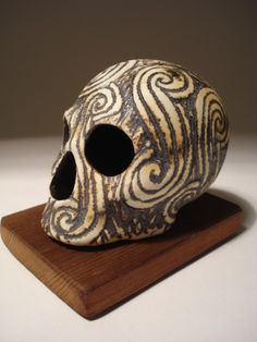 Items similar to Stark Spirals Skull on Etsy Anatomy For Artists, Ancient Symbols, Skull And Bones, Spirals, Macabre, Skulls, Feathers, Death, Cabinet
