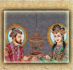 Mughal King Shahjahan and Queen Mumtaz Mahal (Reprint on Card Paper - Unframed) Mughal Paintings, Art Paintings, Early Modern Period, Paper Flowers Craft, Mughal Empire, India Art, Ancient Art, Old Pictures, Asian Art