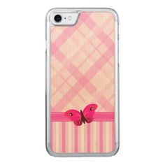 Pink Plaid and Stripes Pattern Butterfly Wood Carved iPhone 7 Case - stylish gifts unique cool diy customize