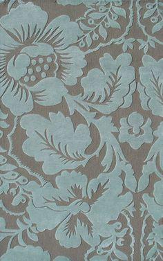 Blue  Brown Flower Patterned Floor Rug