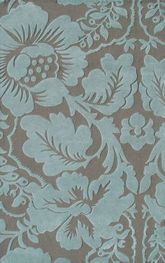 Blue & Brown Flower Patterned Floor Rug. Something like this could work.